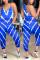 Blue Fashion Casual Striped Print Jumpsuits