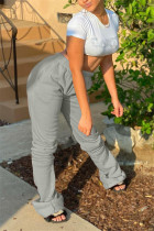 Grey Fashion Casual Solid Basic Regular Trousers