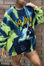 Yellow Casual Print Hollowed Out Pullovers O Neck Tops