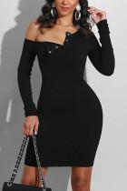 Black Fashion Sexy Solid Basic Long Sleeve Mini A Line Dresses