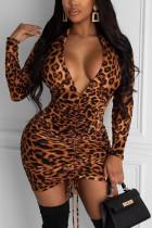 Brown Sexy Polyester Print Leopard Split Joint V Neck Long Sleeve Mini Pencil Skirt Dresses