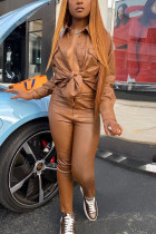 Brown Fashion Casual Solid Basic Turndown Collar Long Sleeve Regular Sleeve Regular Two Pieces