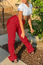 Red Fashion Casual Solid Basic Regular Trousers