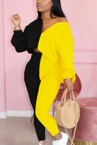 Yellow Elegant Polyester Patchwork Split Joint V Neck Long Sleeve Regular Sleeve Two Pieces