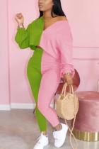 Pink Elegant Polyester Patchwork Split Joint V Neck Long Sleeve Regular Sleeve Two Pieces