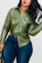 Green Fashion Street Adult Faux Leather Solid Buttons Cardigan Turndown Collar TOPS