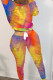 Yellow Sexy Print Split Joint O Neck Long Sleeve Regular Sleeve Two Pieces