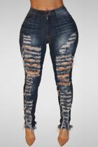 Deep Blue Trendy High Waist Broken Holes Dark Blue Denim Pants
