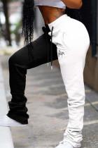 White Drawstring Sleeveless High bandage Solid Patchwork Loose Pants