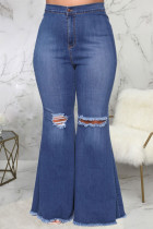 Dark Blue Sexy Solid Ripped Plus Size Jeans