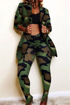 Camouflage Fashion Casual Print Long-Sleeved Two-Piece Suit
