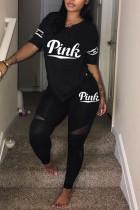 Black Fashion Letter Printed T-shirt Trousers Set