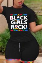 Black Fashion Casual Printed Short-sleeved Top Set