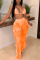 Orange Sexy Mesh Printing Swimsuit Two-piece Set