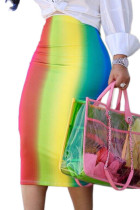Multi-color Sexy Rainbow Printed Mid Calf Skirts
