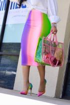 Pink Sexy Rainbow Printed Mid Calf Skirts