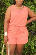 Orange Fashion Casual Plus Size Sleeveless Romper