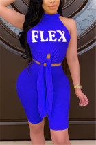 Blue Fashion Sexy Letter Printed Sleeveless Set