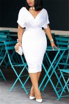 White Fashion Sexy V Neck Dress