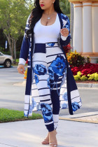 Blue Sexy Printing Cardigan Long Sleeve Trousers Suit
