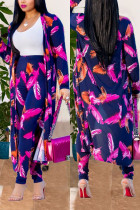 Purple Sexy Printing Cardigan Long Sleeve Trousers Suit