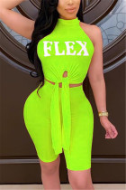 Fluorescent green Fashion Sexy Letter Printed Sleeveless Set
