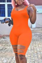 Orange Fashion Sexy Sleeveless Broken Hole Romper
