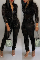 Black Trendy Zipper Design Blending One-piece Jumpsuit