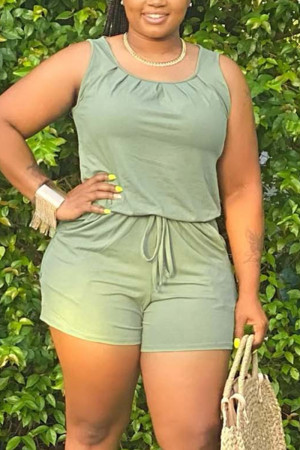OliveGreen Fashion Casual Plus Size Sleeveless Romper
