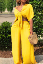 Yellow Casual Deep V Neck Loose Two-piece Pants Set