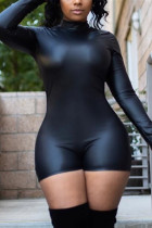 Black Fashion Casual Solid Basic Turtleneck Skinny Romper