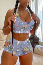 GrayBlue Sexy Fashion Print Sleeveless Top Shorts Set