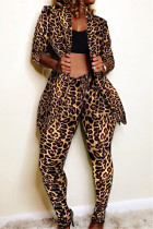 Leopard print Fashion Casual Print Long-Sleeved Two-Piece Suit