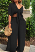 Black Casual Deep V Neck Loose Two-piece Pants Set
