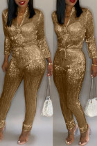 Gold Trendy Zipper Design Blending One-piece Jumpsuit