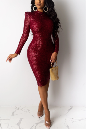 Wine Red Fashion Sexy Sequin Long Sleeve Dress