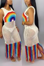 White Fashion Sexy Mesh Print Beach Dress