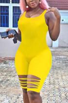 Yellow Fashion Sexy Sleeveless Broken Hole Romper
