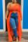 Orange Sexy Plus Size Single Sleeve Irregular Top