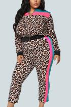 Leopard print Sexy Knitting Print Leopard Split Joint O Neck Plus Size Set