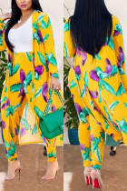 YellowFeather Sexy Printing Cardigan Long Sleeve Trousers Suit