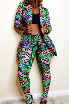 Green Fashion Casual Print Long-Sleeved Two-Piece Suit