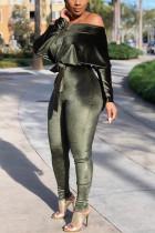 Green Casual Velvet Off-The-Shoulder Jumpsuit (With Belt)
