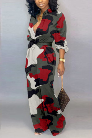 Red Fashion Casual Long Sleeve Jumpsuit