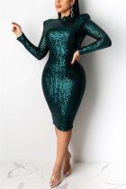 Green Fashion Sexy Sequin Long Sleeve Dress