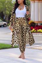 Leopard print Sexy Printing Cardigan Long Sleeve Trousers Suit