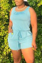 Cyan Fashion Casual Plus Size Sleeveless Romper