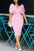 Pink Fashion Sexy V Neck Dress