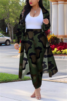 Camouflage Sexy Printing Cardigan Long Sleeve Trousers Suit