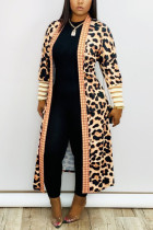 Leopard print Fashion Casual Extended Print Cape Coat